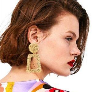 Trendy Modern Gold Geometric Dangle Drop Earrings
